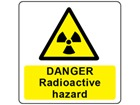 Danger radioactive hazard symbol and text safety label.