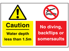 Caution water depth less than 1.5m and No diving, backflips or somersaults sign.
