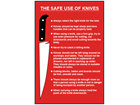 Safe use of knives safety sign.