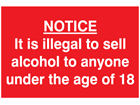 Alcohol sale age limit sign