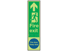 Fire exit, running man right, fire door keep shut fingerplate photoluminescent sign.