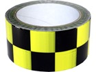 Laminated warning tape, black and yellow check.