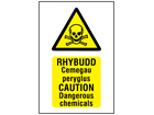 Rhybudd Cemegau peryglus, Caution Dangerous chemicals. Welsh English sign.