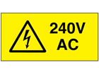 240V AC Electrical warning label