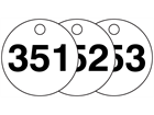 Plastic valve tags, numbered 351-375