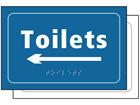 Toilets, arrow left sign.