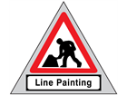 Men at work, line painting roll up road sign