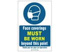Face coverings must be worn beyond this point safety sign.