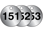 Aluminium valve tags, numbered 151-175