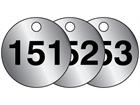 Aluminium valve tags, numbered 151-175