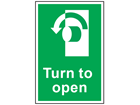 Turn to open anti-clockwise symbol and text safety sign.
