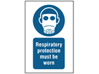 Respiratory protection must be worn symbol and text safety sign.