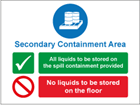 Secondary containment area sign.