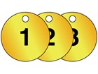Brass valve tags, numbered 1-25