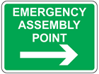 Emergency assembly point, arrow right sign