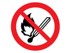 No naked flames symbol label