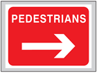 Pedestrians (arrow right) roll up road sign