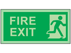 Fire exit running man right photoluminescent safety sign