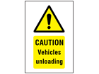Caution Vehicles unloading symbol and text safety sign.