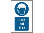 Hard hat area symbol and text safety sign.