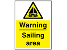 Warning sailing area sign.