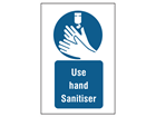Use hand sanitiser symbol and text safety sign.