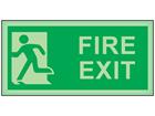 Fire exit running man left photoluminescent safety sign