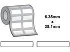 Thermal transfer labels, self adhesive vinyl, 6.35mm x 38.1mm.