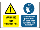 Warning high vibration risk, anti-vibration gloves label.