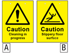 Caution cleaning in progress, slippery floor surface sign.