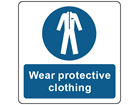 Wear protective clothing symbol and text safety label.