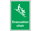 Evacuation chair symbol and text safety sign.