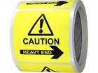 Caution heavy end, arrow right label.