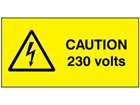 Caution 230 volts label.