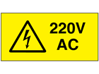 220V AC Electrical warning label