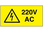 220V AC Electrical warning label