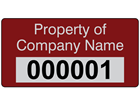 Assetmark foil serial number label (text on colour), 19mm x 38mm