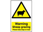 Warning sheep grazing, Please keep dogs on lead safety sign.