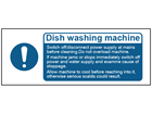 Dish washing machine safety label.