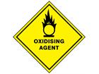 Oxidising agent hazard warning diamond sign
