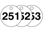 Plastic valve tags, numbered 251-275