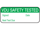 VDU safety tested maintenance label.