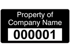 Assetmark serial number label (text on colour), 19mm x 38mm