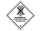 Harmful stow away from foodstuffs 6 hazard warning diamond sign