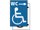 WC disabled, arrow right symbol sign.