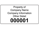 Assetmark serial number label (black text), 38mm x 76mm
