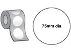 Thermal transfer labels, self adhesive paper, 75mm diameter.