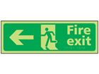 Fire exit arrow left photoluminescent sign.