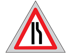 Road ahead narrows on right (offside) roll up road sign