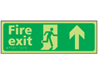 Fire exit arrow up photoluminescent sign.